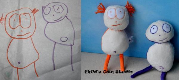 وندی تسائو و عروسک هایش با الهام از نقاشی پسرش