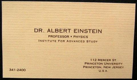 کارت ویزیت اینشتین