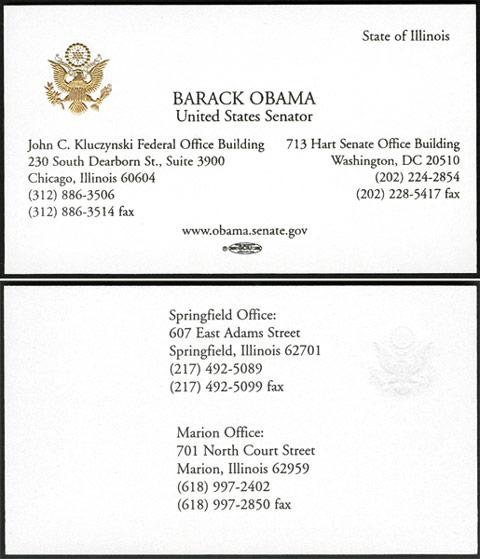 کارت ویزیت باراک اوباما