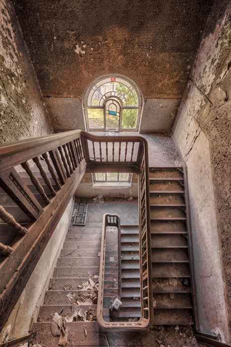 abandoned wodden staircase