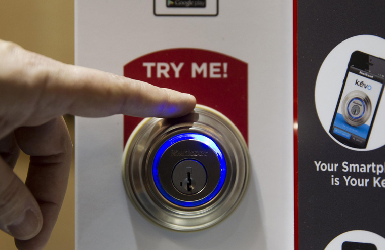Kevo smart lock is demonstrated during the 2015 International Consumer Electronics Show in Las Vegas