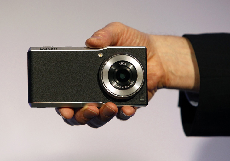 A Panasonic Lumix CM1 smartphone/camera hybrid with 4K video is displayed at a Panasonic news conference during the 2015 International Consumer Electronics Show (CES) in Las Vegas