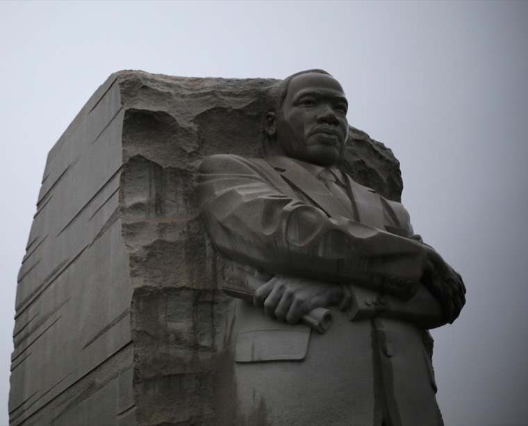 The Martin Luther King Jr. Memorial is pictured during a steady rain in Washington