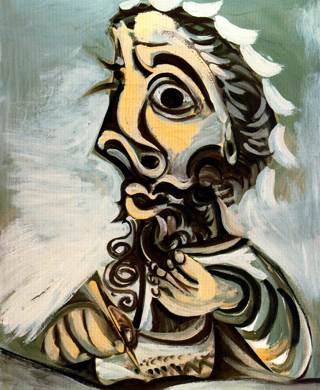Bust-of-Man-Writing-Pablo-Picasso-1971