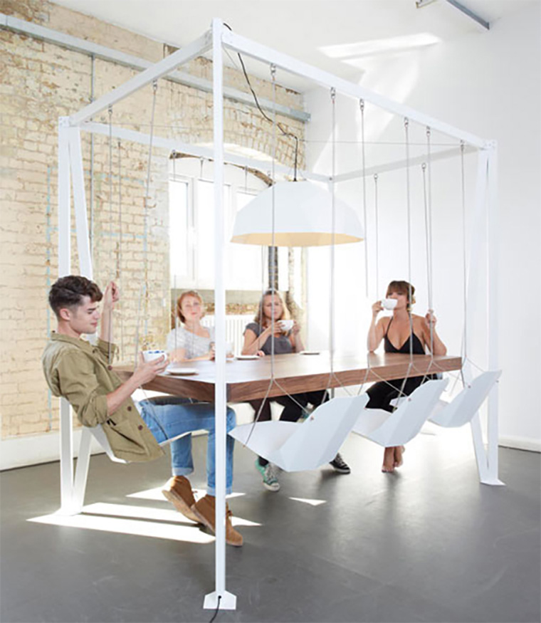 Swinging-Chairs-At-Dining-Table