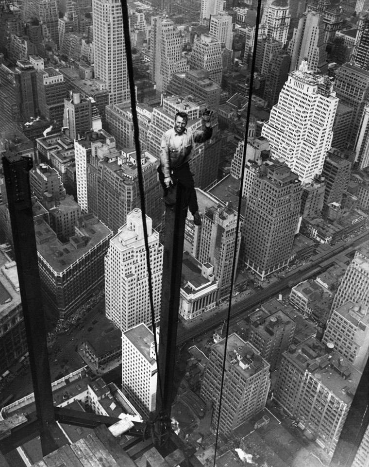 Construction Worker Waves from Empire State Construction