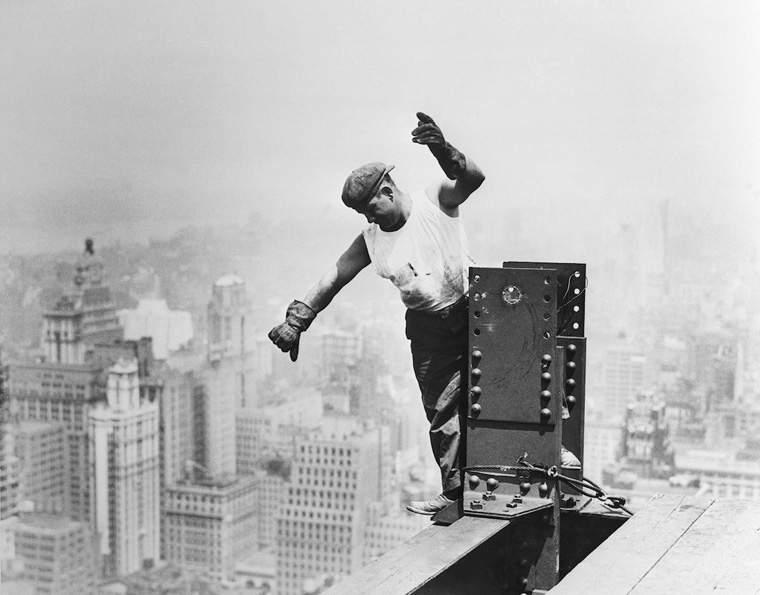 Steel Worker Constructs the Frame of the Empire State Building
