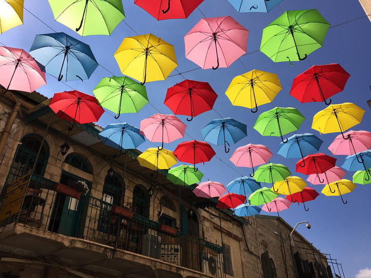 Umbrella Art Installation in Jerusalem